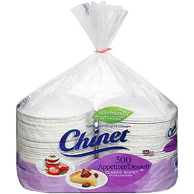 """(300 PLATES) 6 3/4"""" CHINET HEAVY WHITE PAPER PLATE DESSERT/APPETIZERS/USA MADE"""