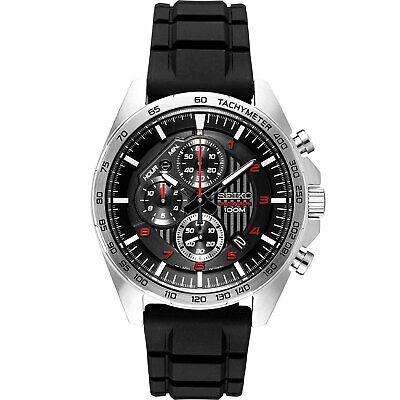 Seiko SSB325 Chronograph 44MM Men's Chronograph Black Silicone Watch