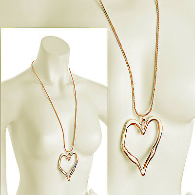 Abstract Heart Necklace - Lagenlook shiny gold large heart abstract pendant 85 cm long chain necklace