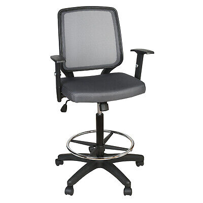 Ergonomic Office Tall Drafting Chair Warm Mesh Adjustable Swivel Executive Seat