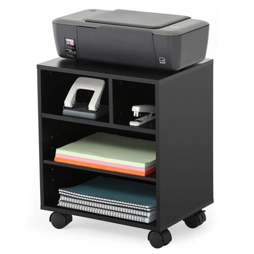 Mobile Black Wood Printer Cart Rolling Computer Stand Portable Office Table