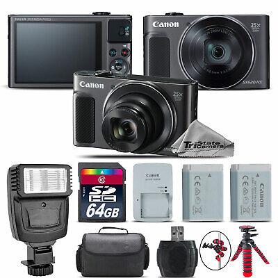 Canon PowerShot SX620 HS Black Digital Camera + Extra Battery + Flash - 64GB Kit ()
