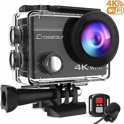 Crosstour 4K 16MP Action Cam WIFI Telecomando Subacquea Camera con Microfono Est