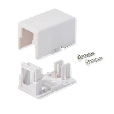 25 Pack Surface Mount Box 1 Port Signle Hole Keystone Jack Cat5e/Cat6 White Blank Surface Mount Box
