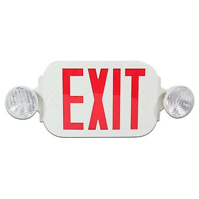 1x Led Exit Sign High Output Emergency Light Red Compact Combo Ul924 Etl Listed