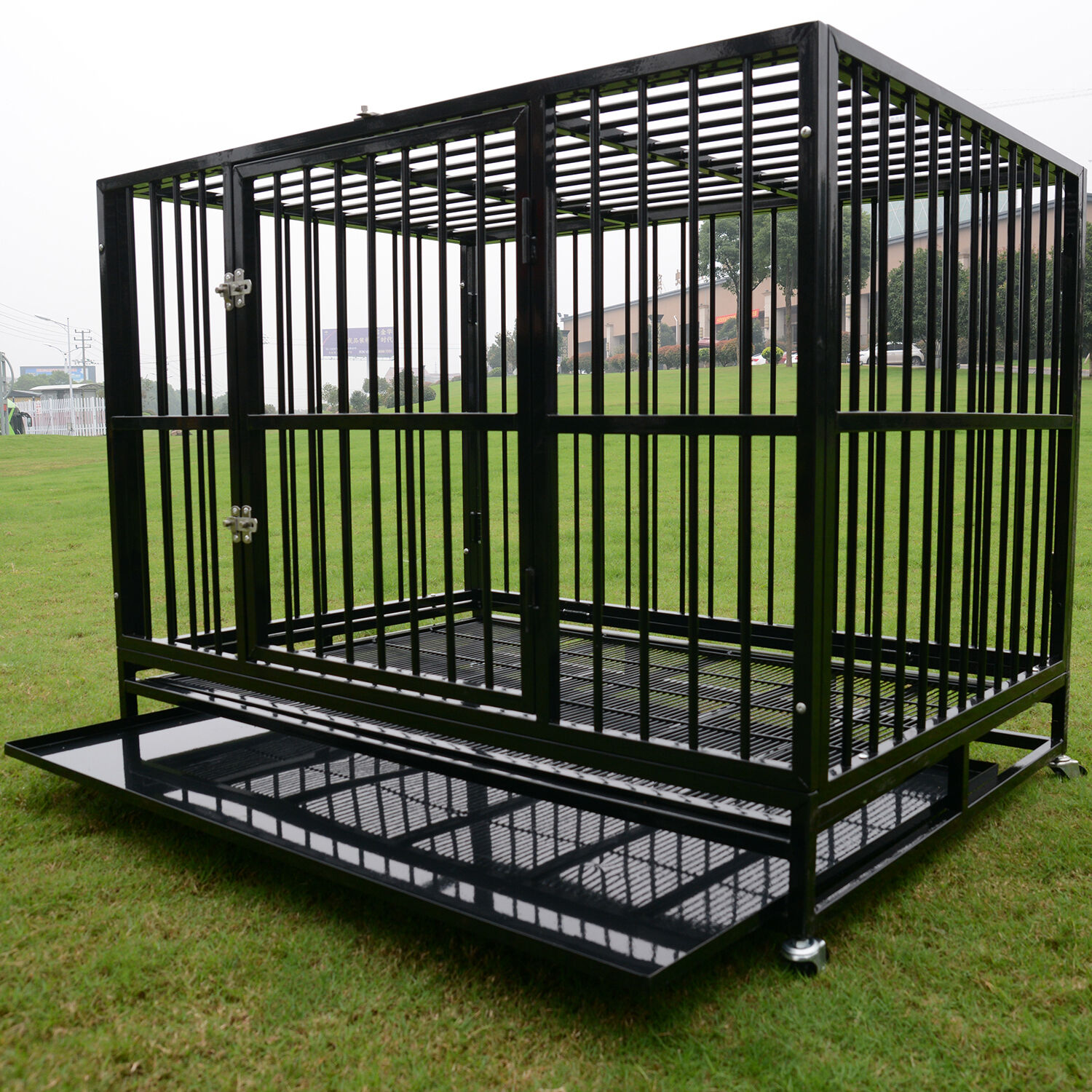 48 Black Heavy Duty Strong Metal Pet Dog Cage Crate