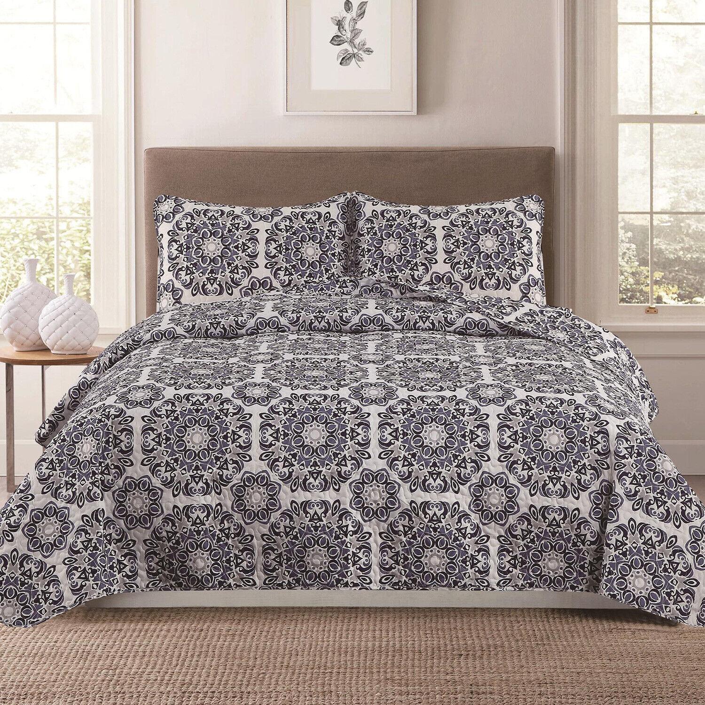 Full/Queen or King Medallion 3-Piece Quilt Bedding Set Coverlet Bedspread, Grey Bedding