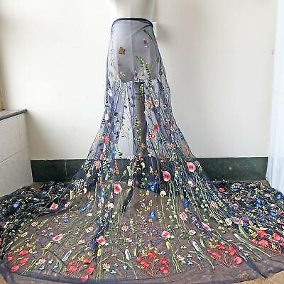 Alice Navy Tulle Lace Fabric Material Embroidered Flower Gauze DIY Dress Gown 1Y - Navy Tulle