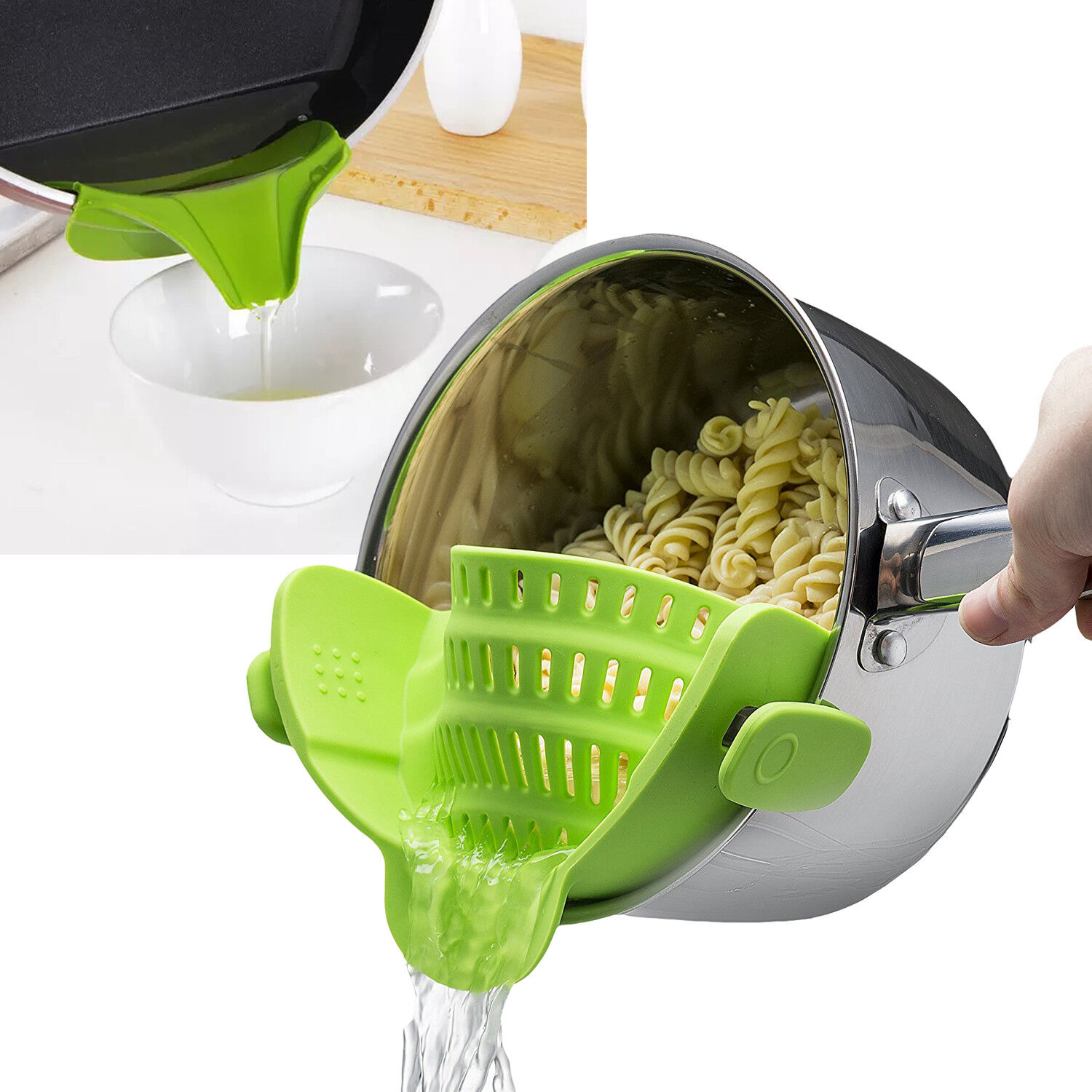 Pasta Strainer Silicone Filter Clip-on Colander w/ Soup Funnel Universal Size Colanders, Strainers & Sifters