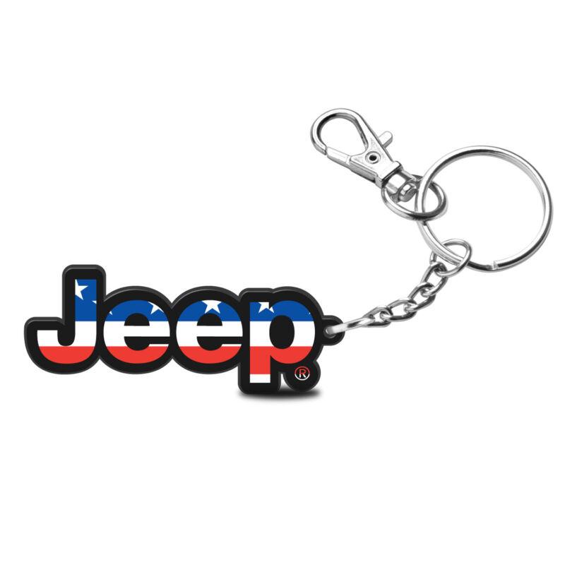Jeep in USA Flag Custom Laser Cut Full-Color Printing Acrylic Charm Key Chain