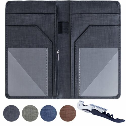 Server Book for Waitress Waiter Organizer with Zipper Pocket and Wine Opener
