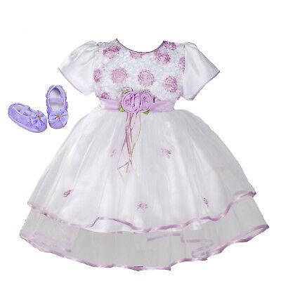 Taufkleid Party Kleid mit Schuhe Rosa Lila Weiß 0 3 6 9 12 18 Monate (Weißes Kleid, Rosa Schuhe)