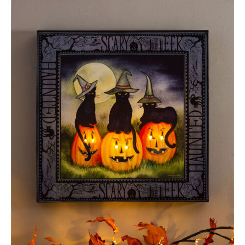 LED Black Cats Jack O Lantern Wall Canvas Musical Lighted