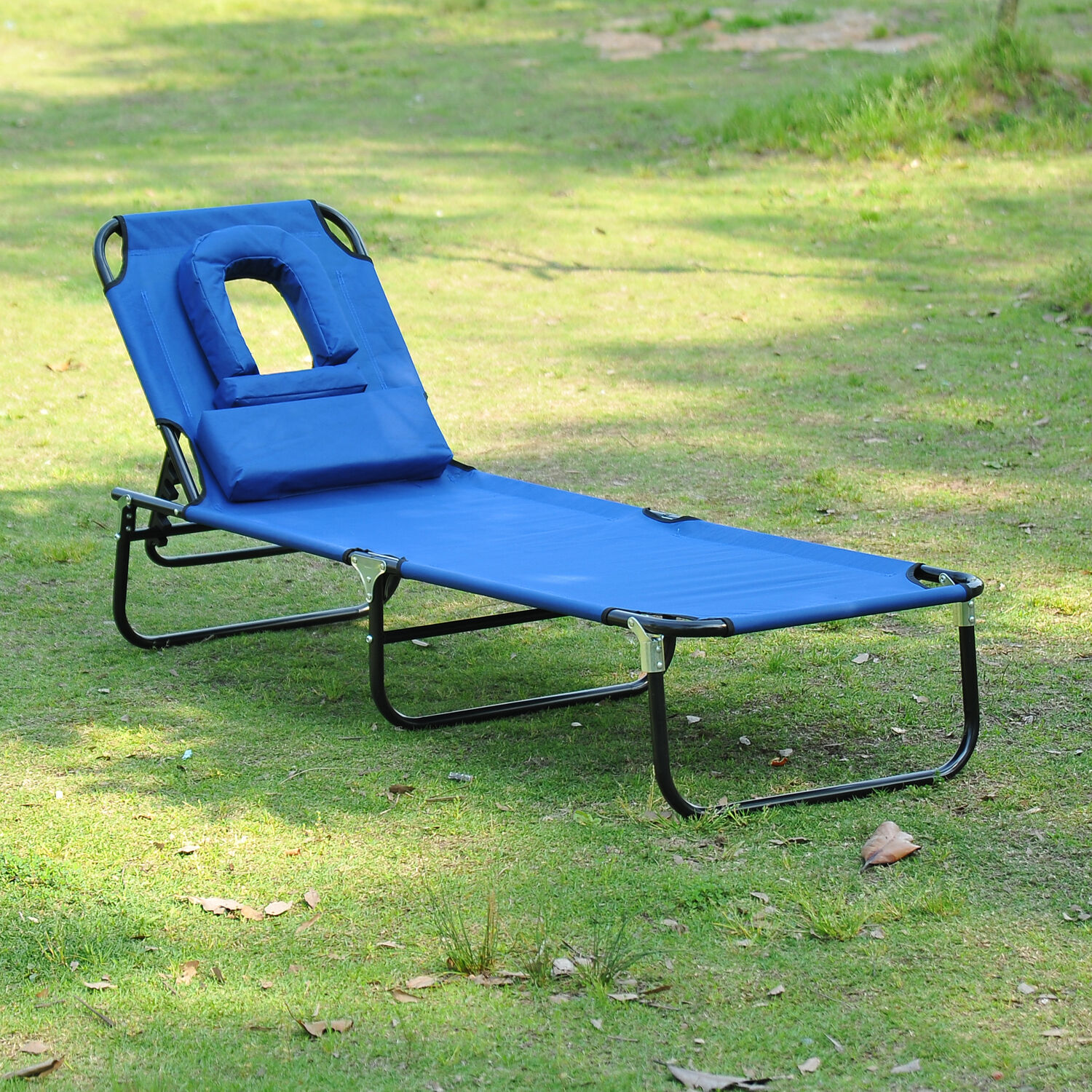 Outdoor Lounge Chair Portable Folding Garden Sun Lounger Patio Pool Beach Blue