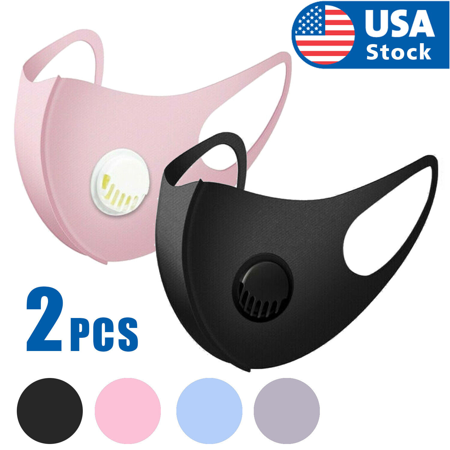 2x Reusable Washable Adult Soft Cloth Breathable Face Mask With Breathing Valve Accessories