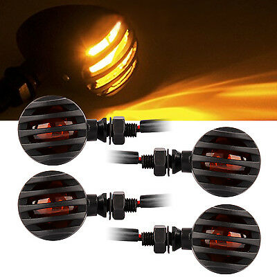 4x Black Retro Motorcycle Bulb Turn Signal Blinker Lights Indicators Amber Lens