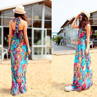 Women Summer peacock Maxi Dress Party Halter V-Neck Long Beach Sexy - Peacock Party