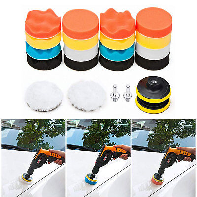 22PCS 3 Inch Polishing Pad Sponge Buff Buffing Kit Set For Car Polisher US