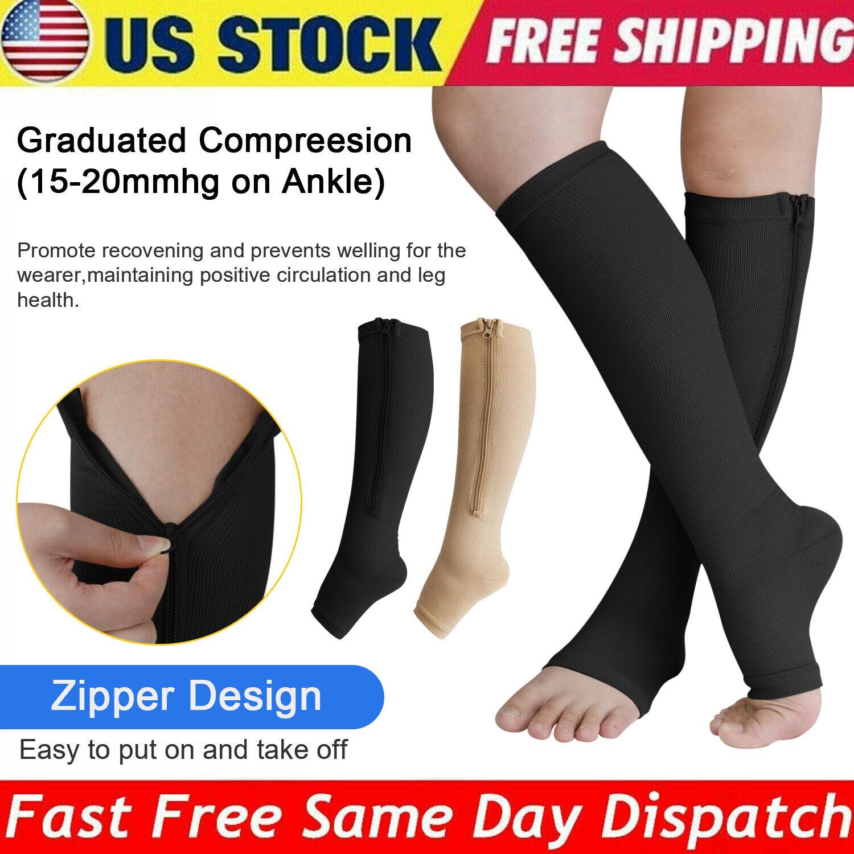 1-5 Pair Zippered Open Toe Compression Socks 20-30mmHg Calf
