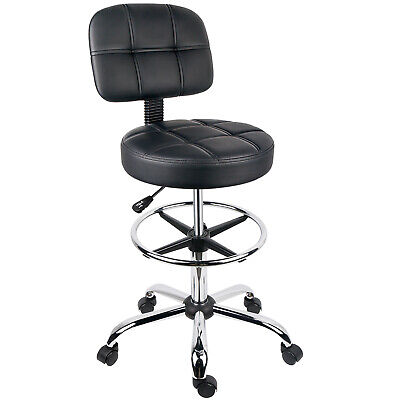 Leopard Round Drafting Chair Adjustable Swivel Tall Office Chair Task Chair