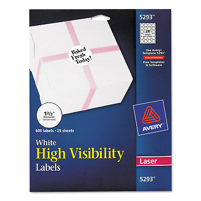 Avery High-visibility Round Permanent Id Labels Laser 1 23 Dia White 600pack