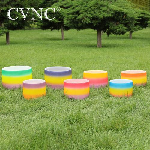 "CVNC 6""-12"" 7 Pcs Rainbow Chakra Set Frosted Quartz Crystal Singing Bowl Mallet"