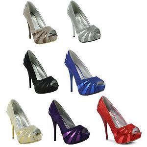 New-Ladies-Stiletto-High-Heel-Platform-Peep-Toe-Evening-Sandals-Size-3-4-5-6-7-8