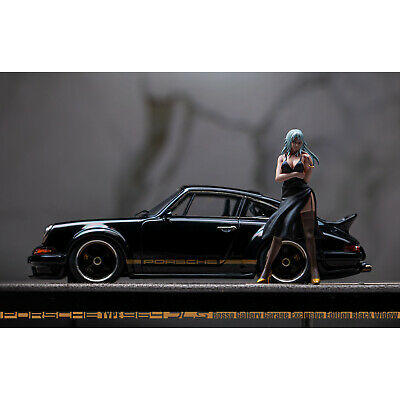 MAKE UP&Tinystar 1:43 Car Model Porsche Singer DLS 2018 Black Widow+Doll Limited