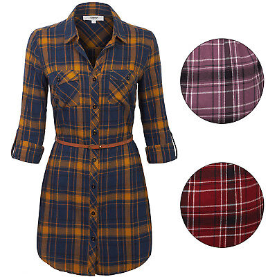 KOGMO Womes Long Sleeve Button Front Belted Plaid Checker Shirt Dress Tunic Top (Long Sleeve Belted Tunic Shirt)