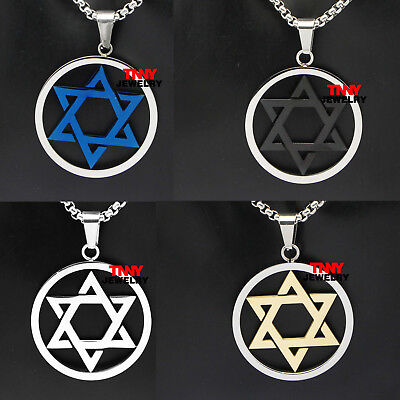 "24"" Unisex Gold Silver Blue Black Jewish Star of David Pendant Necklace Jewelry"