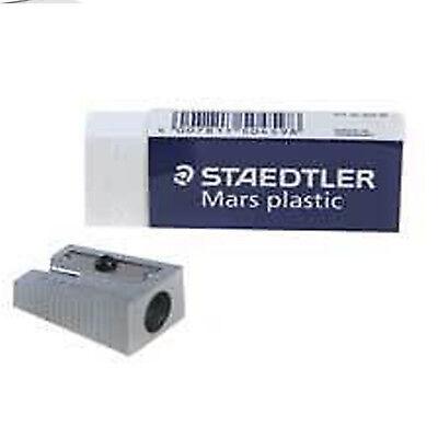 Staedtler Mars Plastic Rubber Eraser Single Hole Metal Sharpener