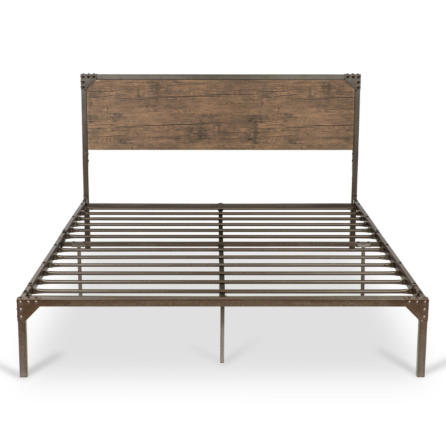 Queen Full Twin Size Metal Platform Bed Frame with Rustic Wo