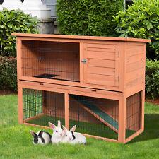 "48"" Rabbit Hutch 2 Story Small Animal House w/ Outdoor Run Backyard Wooden"