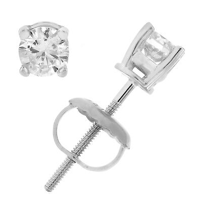 AGS Certified 14K 1/3 cttw Diamond Stud Earrings White Gold