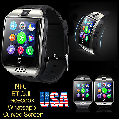 Curved Screen Q18 GSM SIM SD Card Smart Wrist Watch Phone for Android IOS camera