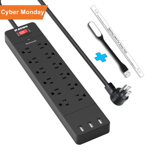 Flat Plug Strip Surge Protector 12 Outlets with 3 USB Multi Outlets 1700 Joules