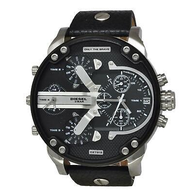 Diesel DZ 7313 Gent's Chrono Black Dial Black Leather Strap Watch ()