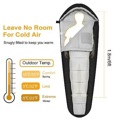 -5-10 ℃ Mummy Sleeping Bag Cold Weather Compact Travel Camping w/ Carrying Case Cold Weather Sleeping Bag
