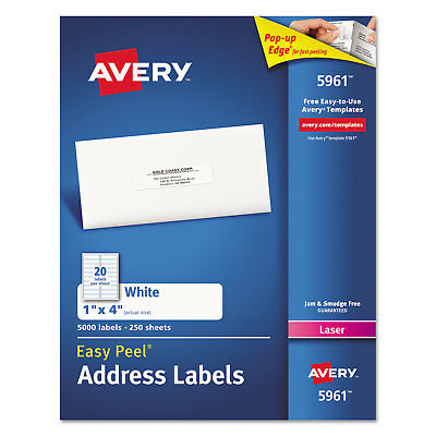 Avery Easy Peel Mailing Address Labels Laser 1 X 4 White 2000box 5161