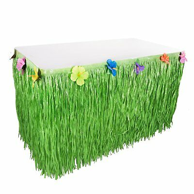 Hawaiian Luau Green Artificial Grass 9ft Hula Table Skirt Silk Hibiscus - Hawaiian Grass Table Skirts