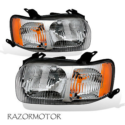 2001-2004 Replacement Headlight Lamp Assembly Set Pair For Ford Escape W/ (2004 Ford Escape Replacement)