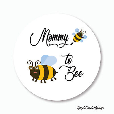 Round Bumble Bee Baby Shower Favor Labels - Mommy to Bee - Choice of 6 Sizes