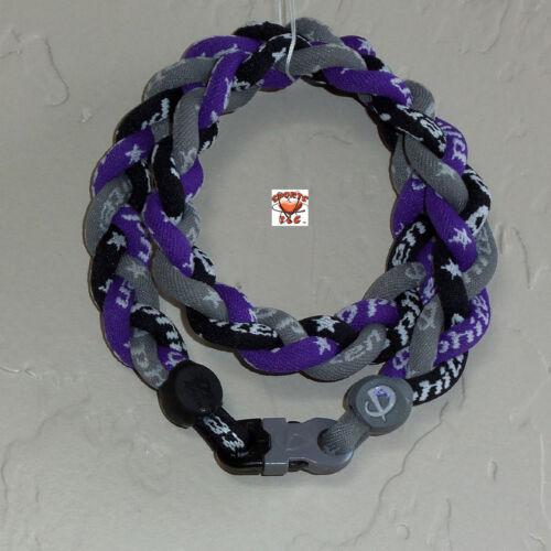 Phiten Triple-Braid Custom New: Gray/Black/Purple