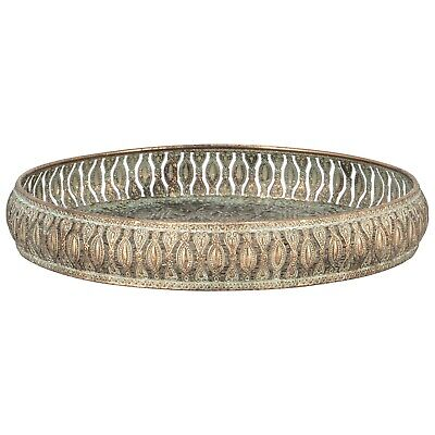 Ornate Metal Tray Aged Antique Look Home Decor New Tray
