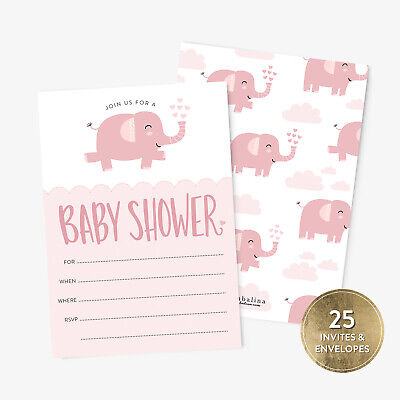 25 Baby Shower Invitation Girl with Envelopes Pink Elephant Baby Shower