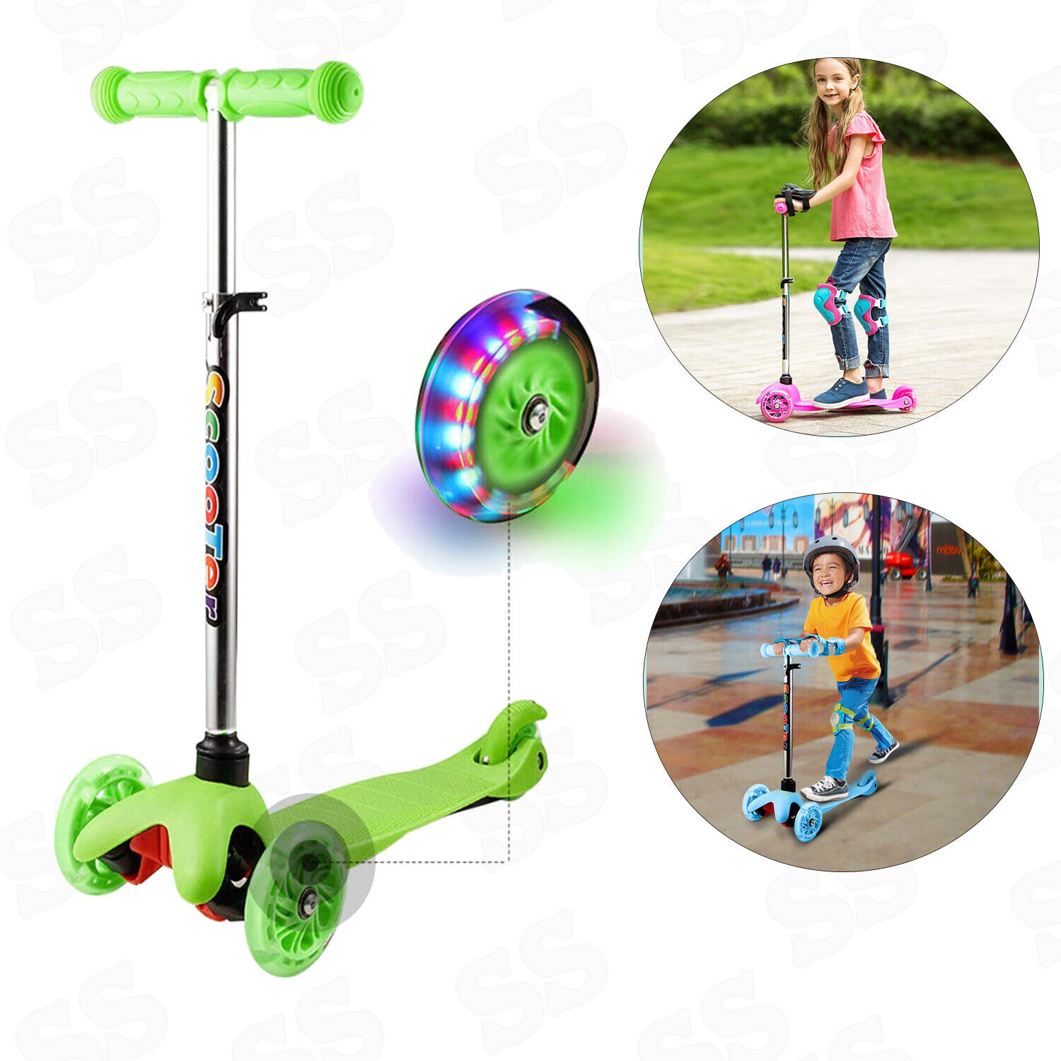 Kids Adjustable Height Kick Scooter with LED Light Up Wheels