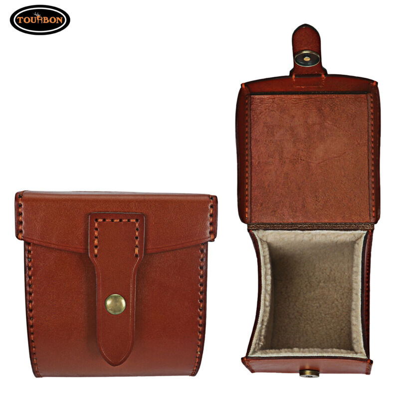 Tourbon Leather Fly Fishing Reel Case Spinning Reels Storage Protection Case Box