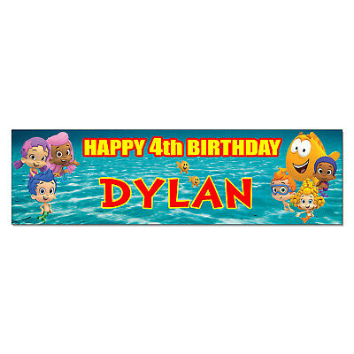 Personalized & Custom Printed Bubble Guppies Birthday Party Banner Poster Decor](Bubble Guppies Birthday Banner)