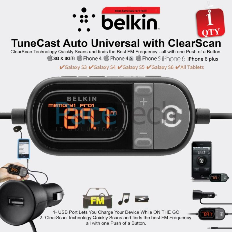 Belkin Tunecast Auto Universal FM Transmitter Clearscan for iPhone 6/5S/5C/5/4S