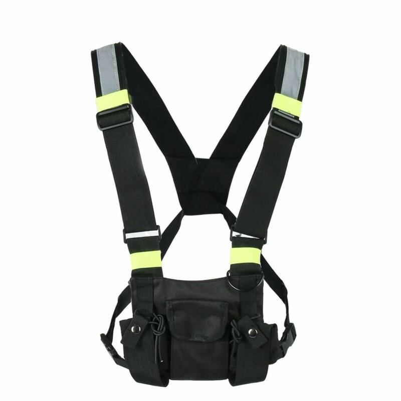 Pocket Radio Chest Harness Chest Front Pack Pouch Holster Vest Rig for Two Way R